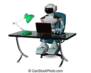 robot at the table - 3d abstract illustration of a robot at...