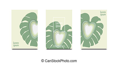 3D abstract leaf background with paper cut shapes design for business presentations, flyers, posters
