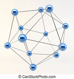 3D Abstract Linked Lines connecting spheres isolated on...