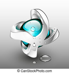 3d abstract logo of water drop with distorted silver framing.