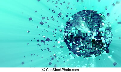 3d abstract looped animated background: pulsating spinning glow disco ball composed of cubes green-blue-turquoise color shinny streaks of light and shards of crystals rotating around. reflecting rays.