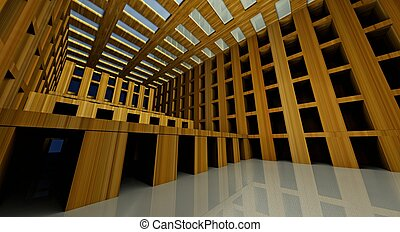 3d abstract modern architecture interior