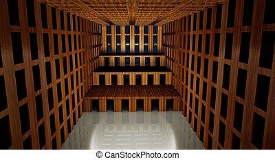 3d, abstract, moderne architectuur, interieur