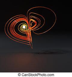3d abstract orange plastic lorenz knot in generative ...