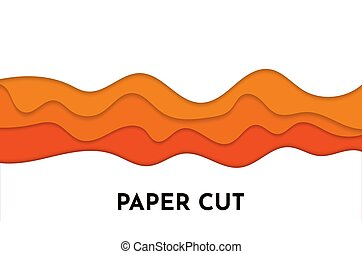 3D abstract orange wave background with paper cut shapes.