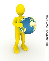3d abstract person wiyh globe