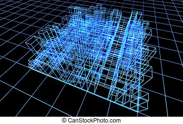 3d abstract project of city