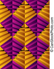 3D abstract pyramids seamless pattern, geometric vector backgrou