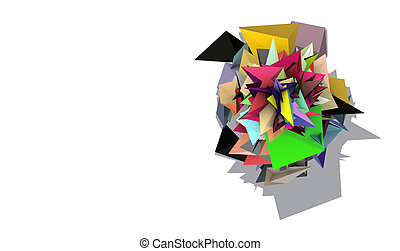 3d abstract rainbow colored spiked electric shape