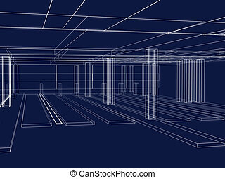 3d abstract sketch of an interior