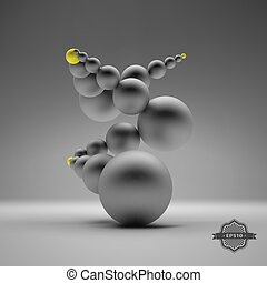 3d abstract spheres composition.
