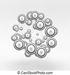 3d abstract spheres composition. Futuristic technology style. Chemical Compounds.  Can be used for presentations and design.