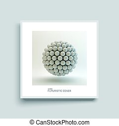 3d abstract spheres composition. Notebook mockup. Cover design template.