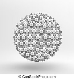 3d Abstract Spheres Composition. Technology, Science and Research. Chemical Compound. Vector illustration.