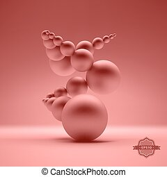 3d abstract spheres composition. Vector illustration.