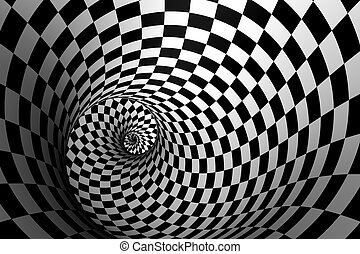 3D Abstract Spiral Background Black and White Texture Design