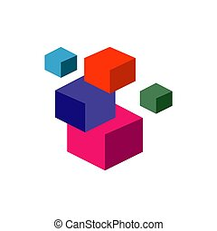 3D abstract square cube stacked boxes logo symbol icon template Vector illustration