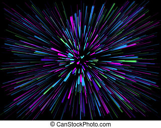 3D abstract starburst background with rays of light