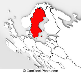 3D Abstract Sweden Map Europe Northern Continent