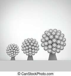 3d Abstract Tree. Leadership Vector Illustration. Concept for Communication, Business, Social Media, Technology, Network and Web Design.