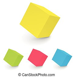 3D abstract white cube isolated on white