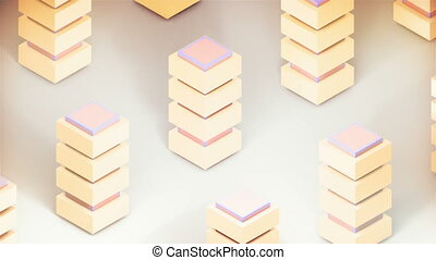 3d abstraction - imitation of many buildings and sunlight, ...