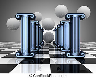 3d abstracxt background. Antiquity columns. 3d illustration