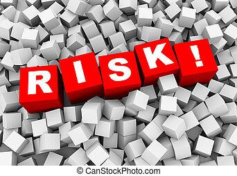 3d, abstrakcyjny, kostki, kabiny, tło, -, risk!