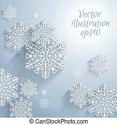 3d, abstrakcyjny, płatki śniegu
