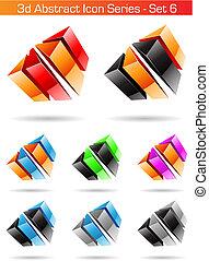 3d, abstrakt, ikone, reihe, -, satz, 6
