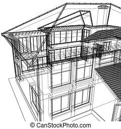 3d, abstrakt, moderne architektur