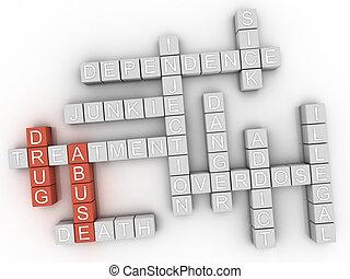 3d, abusos de drogas, palabra, nube, concepto