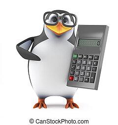 3d, académico, pingüino, con, un, calculadora