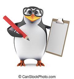3d, académico, pingüino, con, un, portapapeles, y, lápiz