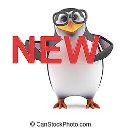 3d, académico, pingüino, tenencia, el, palabra, nuevo