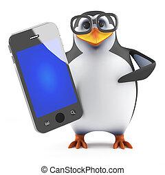 3d, académico, pingüino, tenencia, un, smartphone