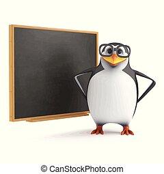 3d Academic penguin at the blackboard