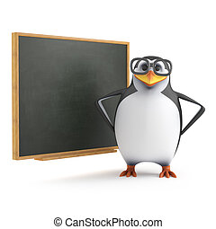 3d Academic penguin at the blackboard