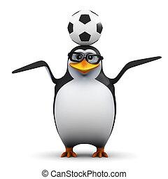3d Academic penguin balances a soccer ball on his head - 3d...
