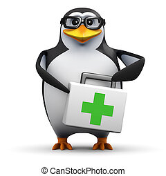 3d Academic penguin has a first aid kit - 3d render of a...