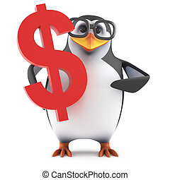 3d Academic penguin has US Dollars
