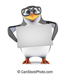 3d Academic penguin holding a blank banner