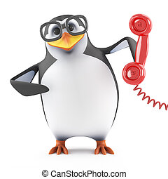 3d Academic penguin holding a red telephone handset