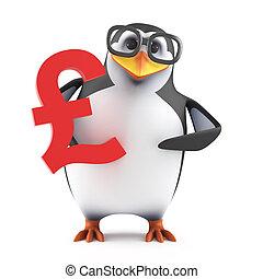 3d Academic penguin holding a UK Pounds symbol