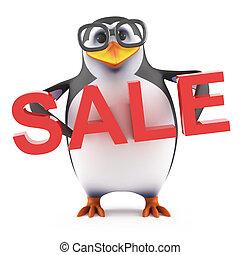 3d Academic penguin holds a Sale