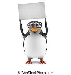 3d Academic penguin holds up a blank banner