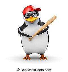3d Academic penguin is ready to bat