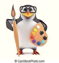 3d Academic penguin loves to paint