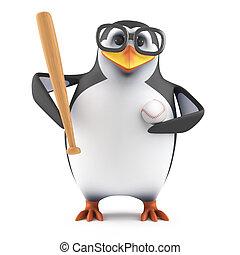 3d Academic penguin plays baseball - 3d render of a penguin...