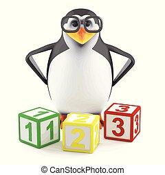 3d Academic penguin teaches math